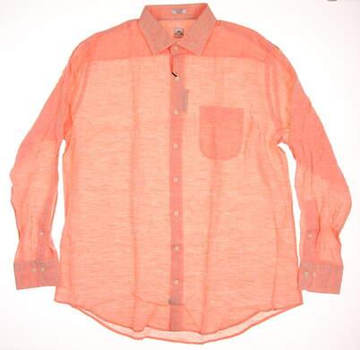 New Mens Peter Millar Linen Sport Shirt Button Up X-Large XL Orange MSRP $145 MS16W19CSL