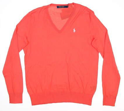 New Womens Ralph Lauren V-Neck Golf Sweater Large L Mango MSRP $125