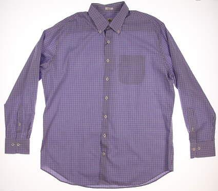 New Mens Peter Millar Golf Button Up X-Large XL Purple MSRP $125 MS16W10CBL