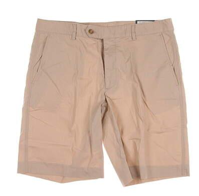 New Mens Fairway & Greene Golf Flat Front Cotton Poplin Shorts Size 36 Khaki MSRP $75 D31185