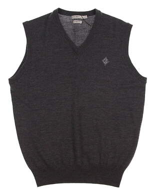 New W/ Logo Mens Peter Millar Merino V-Neck Golf Sweater Vest Small S Charcoal MSRP $129.50