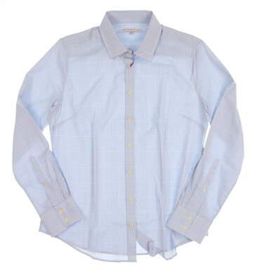 New Womens Peter Millar Golf Button Up Medium M Blue MSRP $110 LS16EW05