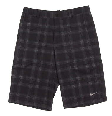 New Youth Nike Golf Boys Plaid Shorts Size Large L Black MSRP $55 585746 060
