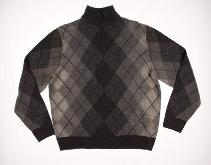 New Mens Ralph Lauren Polo Golf Argyle 1/4 Zip Sweater Large L Gray MSRP $240