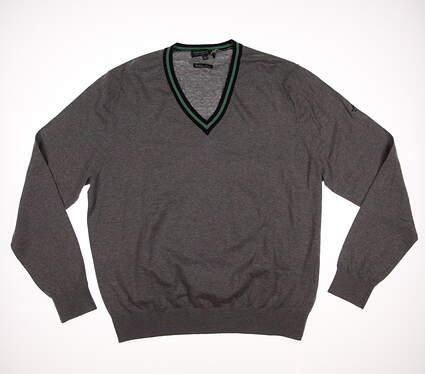 New W/ Logo Mens Fairway & Greene McCallan Blend V-Neck Sweater Large L Gray MSRP $210 D11195