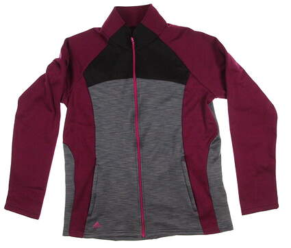 New Womens Adidas Golf Climawarm Full Zip Jacket Large L Multi (Gray / Black / Purple) MSRP $85 Z94175
