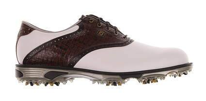 New Mens Golf Shoe Footjoy Dryjoys Tour Wide 8.5 White/Brown MSRP $280