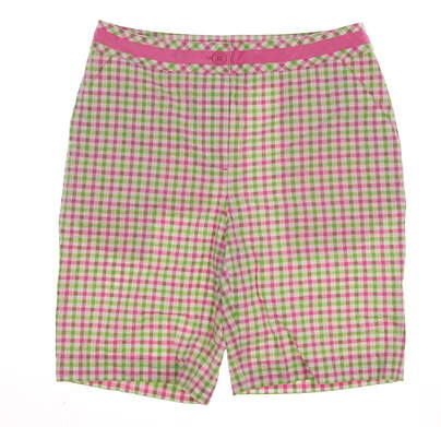 "New Womens EP Pro Golf 20"" Stretch Cotton Gingham Seersucker Shorts Size 4 Multi (White / Pink / Green) MSRP $74 8831DC"