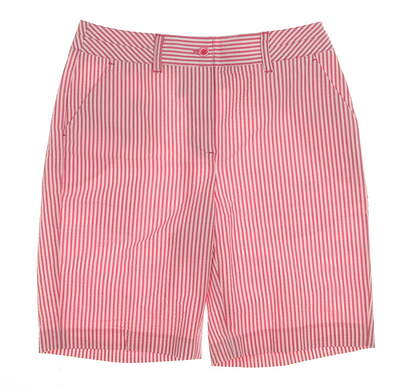 "New Womens EP Pro Golf 20"" Stretch Cotton/Poly Seersucker Stripe Shorts Size 4 Red / White MSRP $70 8441ZD"