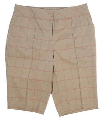 "New Womens EP Pro Golf 23"" Tour Tech Texture Plaid Shorts Size 6 Khaki MSRP $78 8341HD"
