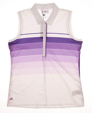 New Womens Adidas Golf Puremotion Gradation 3-Stripes Sleeveless Polo Large L Multi (White / Purple) MSRP $65 Z83256