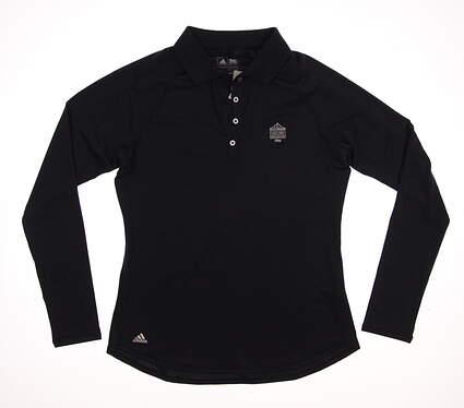 New W/ Logo Womens Adidas Golf ClimaLite Essentials UPF Long Sleeve Polo Medium M Navy Blue MSRP $60 B83266
