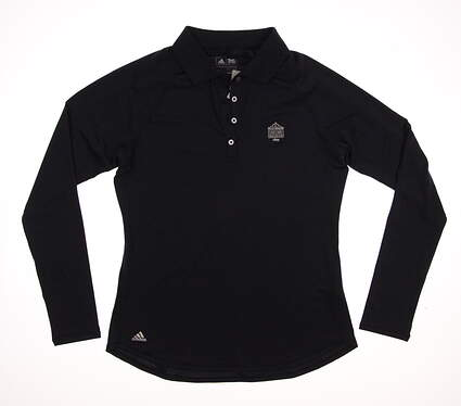 New W/ Logo Womens Adidas Golf ClimaLite Essentials UPF Long Sleeve Polo Small S Navy Blue MSRP $60 B83266