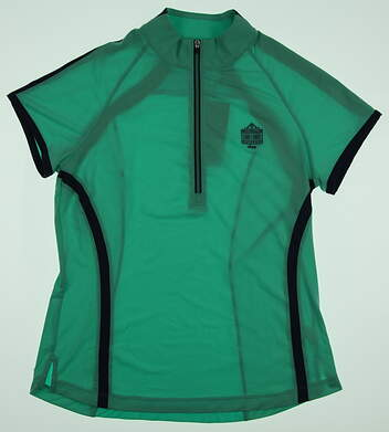 New Womens Zero Restriction Rae Cap Sleeve 1/2 Zip Mock Neck Polo Medium M Green MSRP $85 0571L