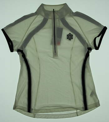 New W/ Logo Womens Zero Restriction Rae Cap Sleeve 1/2 Zip Mock Neck Polo Medium M White MSRP $85 0571L