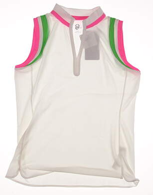 New Womens EP Pro Sport Sleeveless Golf Polo Large L White MSRP $75