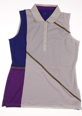 New Womens EP Pro Sport Obsidian Zircon Color Blocked Sleeveless Golf Polo Large L Multi MSRP $70