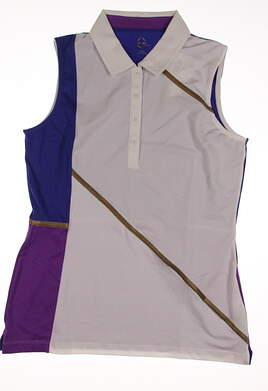 New Womens EP Pro Sport Obsidian Zircon Color Blocked Sleeveless Polo Medium M Multi MSRP $70