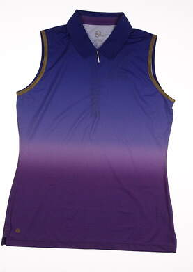 New Womens EP Pro Sport Obsidian Lava Ombre Dip Dye Zip Sleeveless Golf Polo Medium M Multi MSRP $75