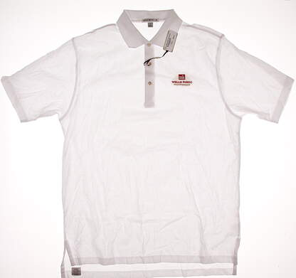 New W/ Logo Mens Peter Millar Golf Polo Large L White MSRP $85