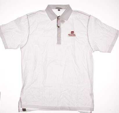 New W/ Logo Mens Peter Millar Golf Polo Medium M White MSRP $85