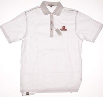New W/ Logo Mens Peter Millar Golf Polo Medium M White MSRP $85