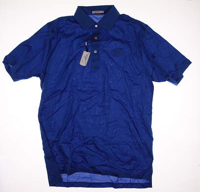 New W/ Logo Mens Peter Millar Golf Polo Large L Blue MSRP $85