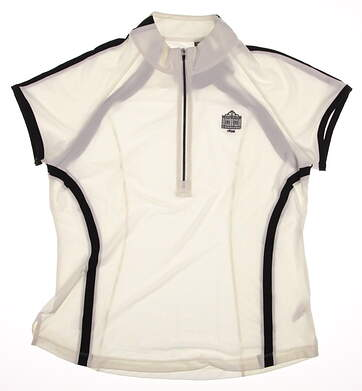 New Womens Zero Restriction Rae Cap Sleeve 1/2 Zip Mock Neck Polo Large L White MSRP $85 0571L