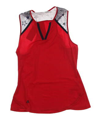 New Womens Adidas Golf USA Star Lace Racer Sleeveless Shirt Small S Red MSRP $65 AF2682