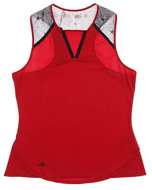 New Womens Adidas Golf USA Star Lace Racer Sleeveless Shirt Medium M Red MSRP $65 AF2682