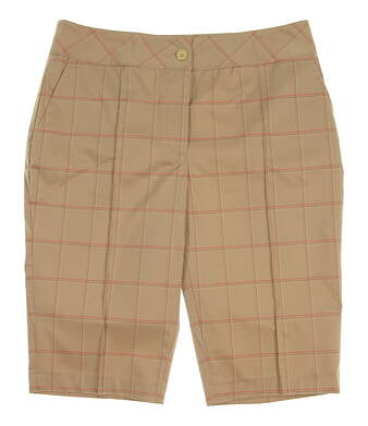 "New Womens EP Pro Golf From Afar Tour Tech 23"" Texture Grid Plaid Shorts Size 4 Khaki (Praline Multi) MSRP $78 8341HD"