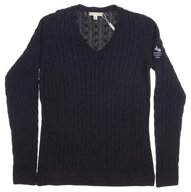 New W/ Logo Womens Fairway & Greene Golf Perry Cable Pima Cotton Classic V-Neck Sweater Medium M Navy Blue MSRP $95 A12170