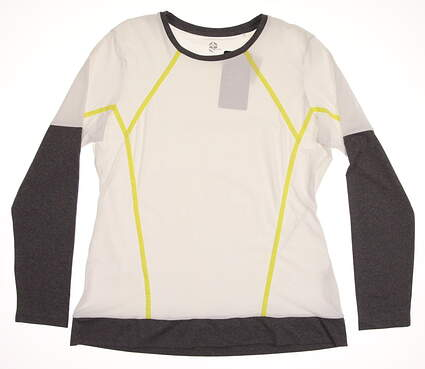 New Womens EP Pro Sport Golf Graysun Color Block Long Sleeve Crew Neck Large L White / Gray MSRP $108 4205SBB