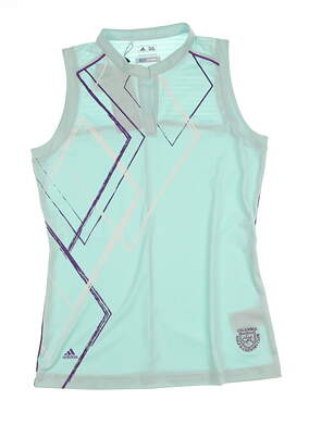 New W/ Logo Womens Adidas Golf Puremotion Diamond Print Mandarin Sleeveless Polo Small S Green MSRP $65 Z83173
