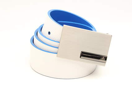 New Mens Adidas Reversible Texture Strap Golf Belt Cut to Size White/Blue MSRP $50