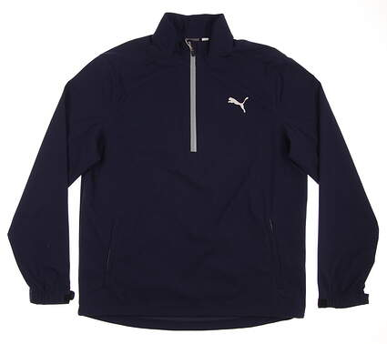 New Mens Puma Long Sleeve Rain Golf Popover Medium M Peacoat MSRP $100