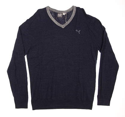 New Mens Puma V-Neck Golf Sweater Medium M Peacoat Heather MSRP $80