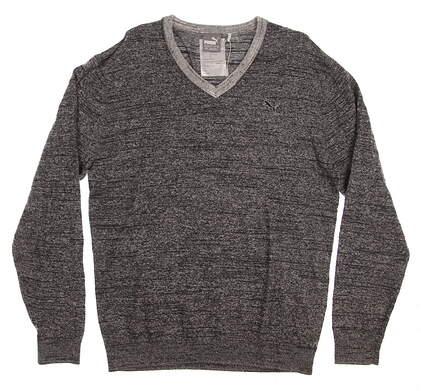 New Mens Puma V-Neck Sweater Medium M Puma Black Heather MSRP $80