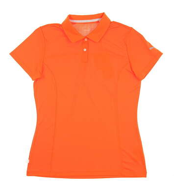 New Womens Puma Pounce Golf Polo Small S Golden Poppy MSRP $50