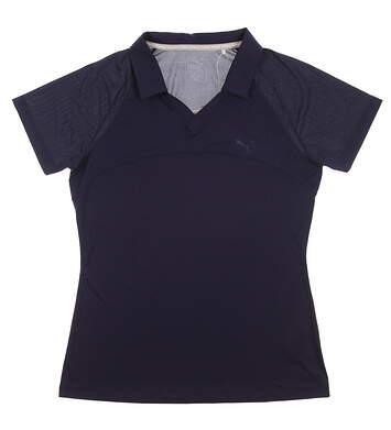 New Womens Puma Mesh Golf Polo Small S Peacoat MSRP $55