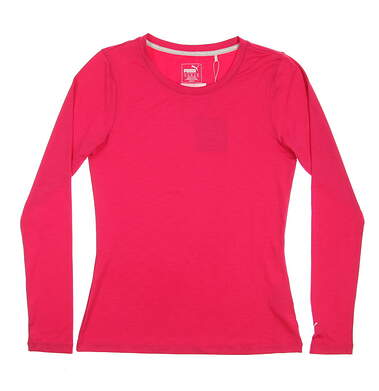 New Womens Puma Long Sleeve Golf Crew Neck Small S Bright Rose MSRP $50