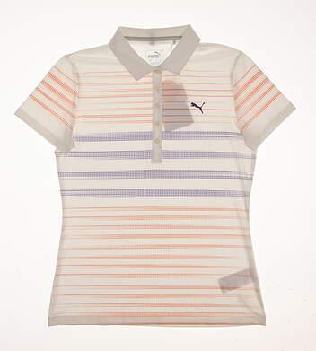 New Womens Puma Dot Stripe Golf Polo Small S White/Golden Poppy MSRP $65