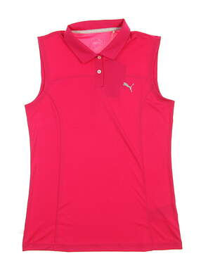 New Womens Puma Pounce Sleeveless Golf Polo Small S Bright Rose MSRP $45
