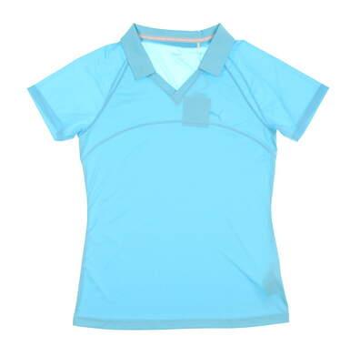 New Womens Puma Mesh Golf Polo Small S Blue Atoll MSRP $55