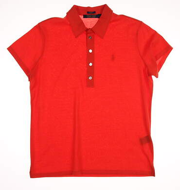 New Womens Ralph Lauren Polo Golf Solid Cotton Polo Large L Orange MSRP $90