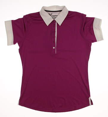 New Womens SUNICE Golf Miranda Cuffed Sleeve Polo Large L Purple MSRP $90 831500