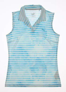 New Womens Puma Bloom Stripe Sleeveless Golf Polo Small S Blue MSRP $60