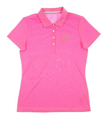 New Womens Puma Jacquard Golf Polo Small S Shocking Pink Heather MSRP $65