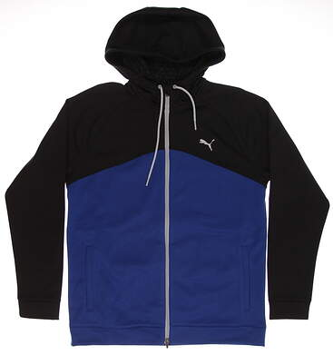 New Mens Puma Full Zip Golf Hoodie Medium M True Blue/Puma Black MSRP $90