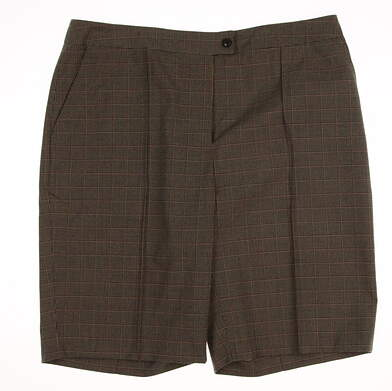 New Womens EP Pro Golf Biltmore Houndstooth Stretch Shorts Size 12 Cognac Multi MSRP $74 8741CD
